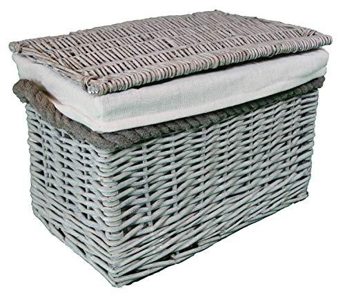 Cestas pequeñas de mimbre 100% enteras. Forro lavable extraíble. Solución de almacenamiento elegante. (natural)