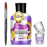 JOSLOVE Monomer Acrylic Nail Liquid Monomer Acrylic Liquid Monomer for Acrylic Nail Kit Acrylic Powder Professional Acrylic Nail System Nail Extension MMA-Free (Monomer 5oz & Acrylic Nail Brush)