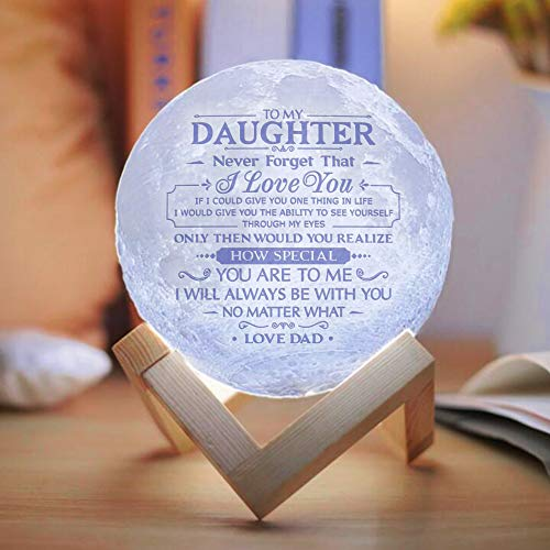 Engraved Moon Lamp Night Light - Never Forget That I Love You - Moon Light with Touch Control Brightness - from Mom/Dad to Daughter (ML-039 - from Dad)