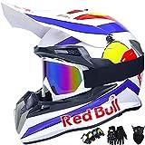 Casco de Moto, Red Bull Casco de Motocross para Niños y Adultos Casco MTB Integral Carcasa ABS y Ventilación Porosa Cierre Rápido Forro Desmontable - Negro/Blanco - Tamaño: S ~ XXL / 55~64 cm