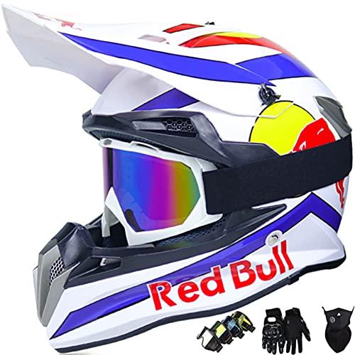 KILCVEM Casco da Motocross Set per Adulti e Bambini con Occhiali Guanti Mask Casco MTB Integrale Red Bull Casco da Motociclista AVT MX per Downhill Offroad Enduro Scooter Sport,White-S: 55~56cm