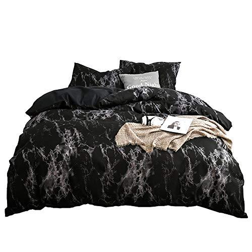 ARYURBU Schwarz Bettwäsche Set Marmor, Bettbezug 200x220cm mit Kissenbezug 80x80cm, Bequem Daunendecke Bettdecke Cover, Damen Kinder Doppelbett Wendebettwäsche