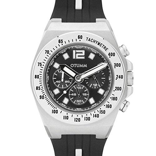 Otumm Athletics Unisex Uhr Chronograph mit Schwarz Silikon Armband MACHST101