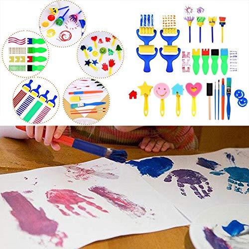 niceEshop(TM Kit de 21 Pcs Outils de Peinture pour Enfants, Brosses, Pinceaux de Peinture et Rouleau de Peinture en éponge de Peinture DIY pour Enfants (Multicolore, 21 Pcs)