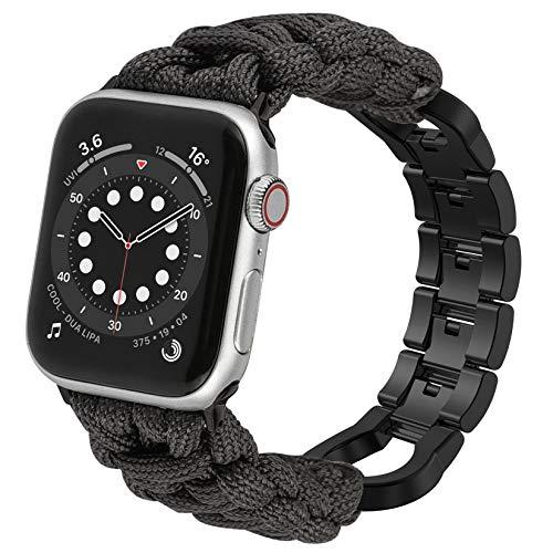 Wearlizer Correa de reloj de paracord compatible con Apple Watch 42 mm 44 mm para iWatch Serie 6 5 4 3 2 1 SE para hombre, hecha a mano con hebilla de acero inoxidable, color gris