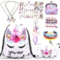 RLGPBON Gifts for Girls Unicorn Drawstring Backpack,Makeup Bag,Unicorn Jewerly Necklace Bracelet?Hair Ties (9 Pack)