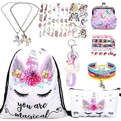 RLGPBON Gifts for Girls Unicorn Drawstring Backpack,Makeup Bag,Unicorn Jewerly Necklace Bracelet?Hair Ties (9 Pack)