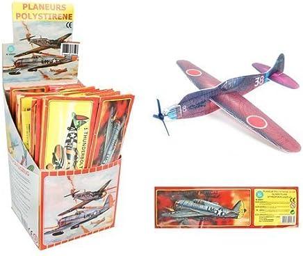 Anniversaire Kermesse - Pack de 12 Avions Styrol à Monter - Polystyrène - 18 cm - Anniversaire Garçon