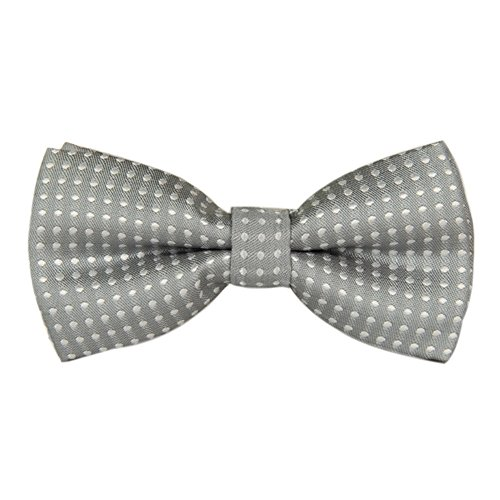 Boys Children Kids Solid Color Satin Banded Bow Ties Various Color (Grey White Polka Dot)