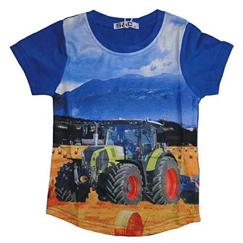 SQUARED & CUBED Jungen T-Shirt mit coolem Traktor Motiv (122/128, blau/gelb/rot)