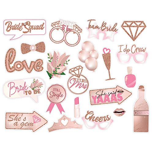 21 Pcs Bachelorette Party Funny Photo Booth Props Supplies  Wedding  Engagement Party  Bridal Shower Decorations  Selfie Props for Girls Night (pink)