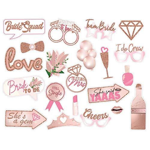 21 Pcs Bachelorette Party Funny Photo Booth Props Supplies, Wedding, Engagement Party, Bridal Shower Decorations, Selfie…