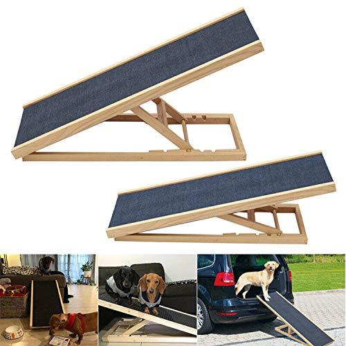 Hunderampe Katzen Rampe Hundetreppe für Bett oder Sofa Klappbar aus Holz Petwalk Hundeleiter Auffahrrampe für Haustiere, Anti-rutsch (70cm)