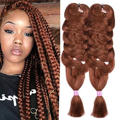 2 Pack Jumbo Braiding Hair Brown Color xpression Braiding Fiber Hair Extensions African Jumbo Braids for Twist Corchet (165g/pcs, 84inch,30#)