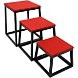Crown Sporting Goods Set of 3 Plyometric Jump Boxes – Step Platform, Fitness Training & Conditioning Equipment for Increasing Vertical, Speed, Stamina (12'/18'/24')