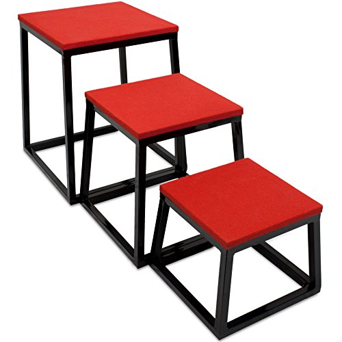 """Crown Sporting Goods Set of 3 Plyometric Jump Boxes – Step Platform, Fitness Training & Conditioning Equipment for Increasing Vertical, Speed, Stamina (12""""/18""""/24"""")"""