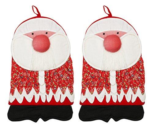 Zenoni&Colombi Coppia di Guanti da Forno Babbo Natale 100% Puro Cotone
