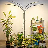 AOONEG Grow Light for Indoor Plants,80w LED Grow Lights with Stand and Desk Clip On,4 Head Full Spectrum Plant Light,3/6/12H Timer,6 Dimmable Levels,4 Modes,Tripod Adjustable 11-63 Inch