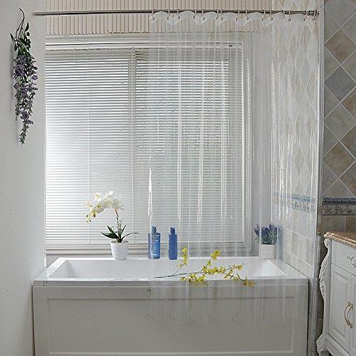 Reine duschvorhänge, Duschvorhänge stoff Bad vorhang Dick Transparent Wand vorhänge Extra lange duschvorhänge-klar W300xH200cm(118x79inch)