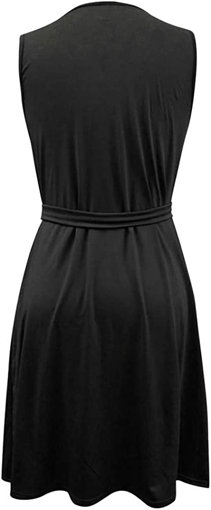 Dress for Women Casual Sleeveless V Neck Lace Up Criss Cross Swing T-Shirt Dresses with Pockets