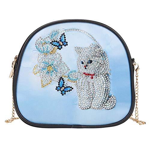 DingCheng DIY gato especial en forma de diamante pintura mujeres cuero cadena crossbody bolsos