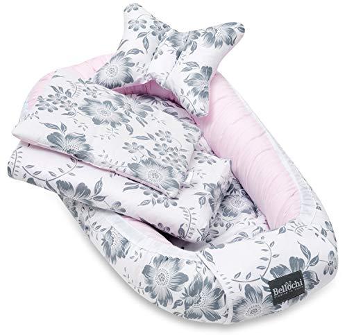 Bellochi 5 tlg. Baby Kuschelnest-Set - aus 100% Baumwolle - ÖKO-TEX zertifiziert - inkl Babynestchen 90x60 cm, Kuscheldecke, Kopfkissen, flaches Kissen mit Bezüge - Pink Berry