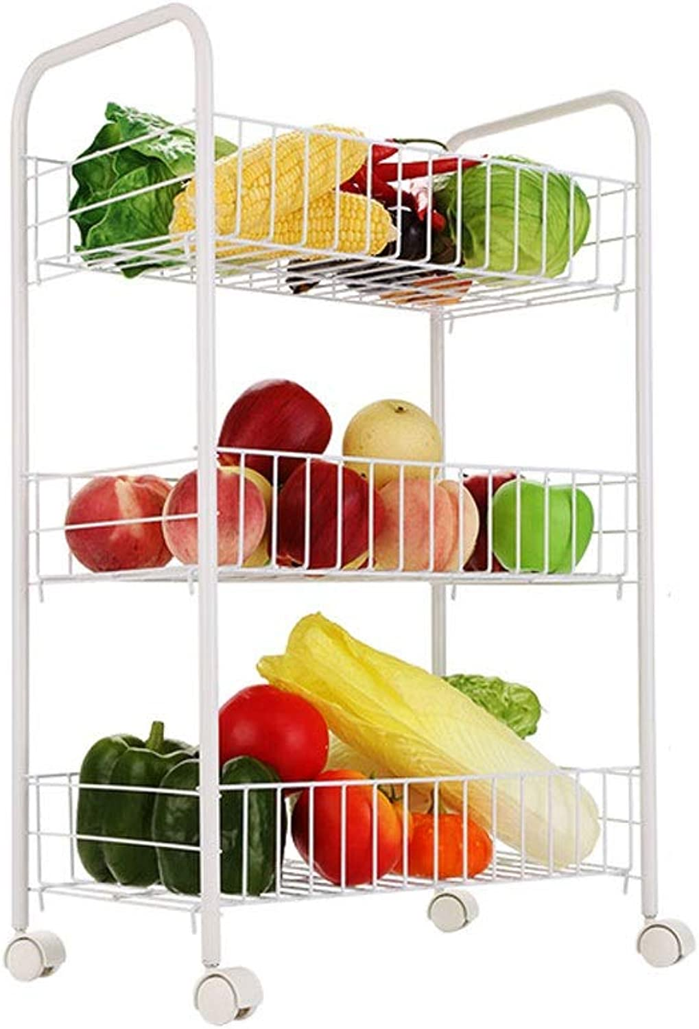 3-Layer Mesh Wire Rolling Cart Multi-Tool Cart Kitchen Storage Wheel, Wire Basket Shelf Trolley, Easy to Move (color   B)