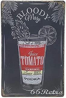 ERLOOD Bloody Mary Recipe Retro Vintage Bar Metal Tin Sign 12 X8