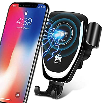 Wireless Car Charger - Easy One Touch Qi Fast Wireless Car Charge Mount Kit Adjustable Gravity Air Vent Phone Holder Compatible for iPhone Samsung Nexus HTC Sony Nokia & Android Smartphones