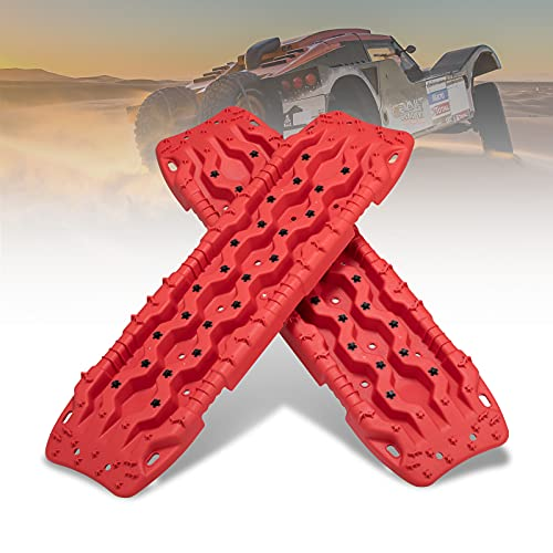 FIERYRED Recovery Traction Tracks, 2 Pcs Recovery Traction Mat for Off-Road Mud, Sand, Snow Traction Tire Ladder- Tire Traction Tool (Red with Black)