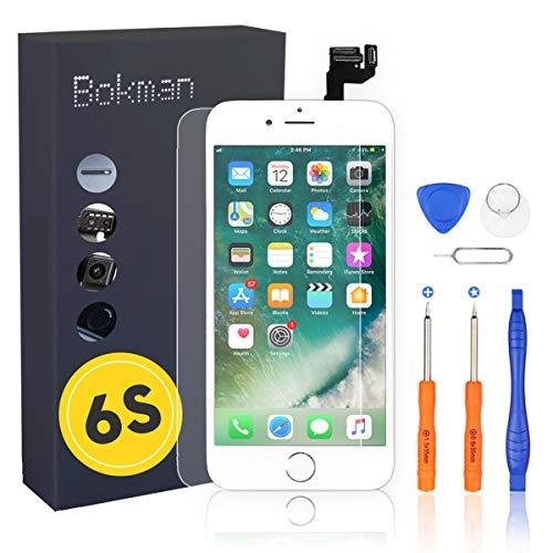 bokman Schermo Display LCD per iPhone 6s Bianca Sostituzione dello Schermo con Pulsante Home, Fotocamera, Sensore Flex e Strumenti di Riparazione