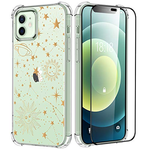 Invoibler Cosmic Stars Case for iPhone 12/12 Pro Clear Case with Screen Protector 6.1 inch, Soft Flexible TPU with Protective Bumper Shockproof Clear Cover with Gold Stars Suns Design for Women, Girls