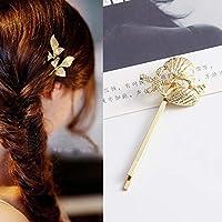 ヘアーアクセサリー 2ピース最高の贈り物ヘアクリップ明るいヘアピンシンプルヘアスタイリングアクセサリー 健康と美しさ (色 : Gold ocean)