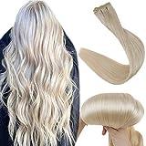Fshine Weft Extensions Human Hair Bundles 10 Inch Straight Real Hair Bundle Color 60 Platinum Blonde Sew In Weft Remy Hair Extensions 50 Grams Blonde Hair Weave