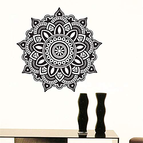 yiyiyaya Mandala Indische Muster Wandaufkleber PVC Selbstklebende Wohnkultur Heißer wasserdichte Blume Wandtattoos lila 43x43 cm