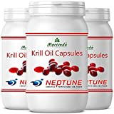 Krillöl Kapseln 270 oder 90, 100% reines NEPTUNE Premium Krill Öl - Omega 3,6,9 Astaxanthin, Phospholipide, Choline, Vitamin-E - Markenqualität von MoriVeda (3x90)