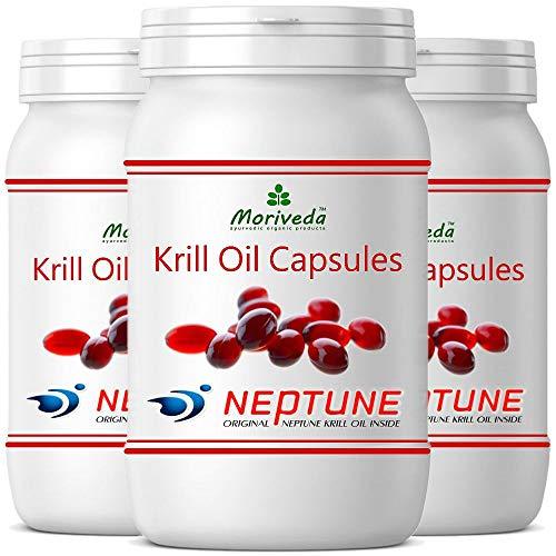 MoriVeda® - Krillöl Kapseln 270 oder 90, 100% reines NEPTUNE Premium Krill Öl - Omega 3,6,9 Astaxanthin, Phospholipide, Choline, Vitamin-E - Markenqualität (3x90 Kapseln)