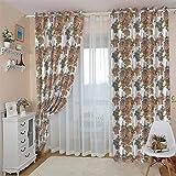 OIUEUNM - Cortina opaca creativa de flores para dormitorio, con ojal, para sala de aislamiento térmico, cortina opaca para salón, 2 paneles de ventana de 400 cm de ancho x 270 cm de alto