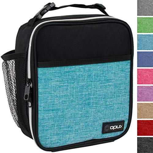 OPUX Premium Insulated Lunch Box   Soft Leakproof School Lunch Bag for Kids, Boys, Girls   Durable Reusable Work Lunch Pail Cooler for Adult Men, Women, Office Fits 6 Cans (Turquoise)