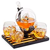 Marine Decanter Set With 4 Whiskey Glasses 1000ml Marines Gift Decanter by The Wine Savant