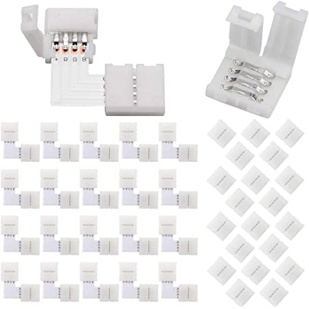 Details about  /L Shape Corner Connector 10mm 4 Pin for 5050 RGB LED Strip Lights no soldering