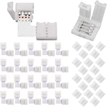 FSJEE 10mm 5050 RGB LED Strip Light Connectors Kits with 20X L Shape 4 Pin Right Angle Corner Solderless Connector,20X Gap...