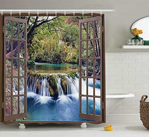 60 x 72 inch douchegordijn met waterval, brede waterval, brede waterval, op de bodem van het bos, van een raam van de stad, stof van stof, surrealistische druk, badkamerdecoratie met haak bos