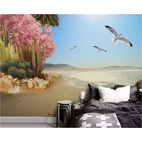 Shuangklei behang aangepaste 3D kust tropische planten bloemen en vogels foto woonkamer muurschildering behang 450x300cm