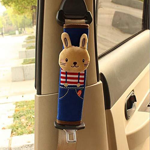RUIYELE Funda para cinturón de seguridad de coche de bebé, 2 almohadillas de felpa para cinturón de seguridad de coche, protectores de correa de hombro, fundas de cinturón, (conejo)