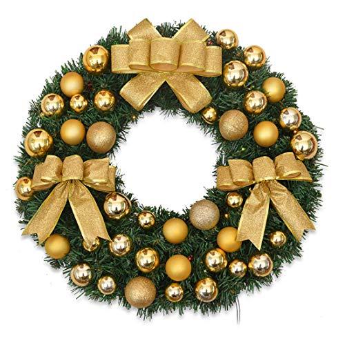 NLRHH Girlande Weihnachten auf Kranzfarbe Ball Rattan Kreis Urlaub Fenster Requisiten hergestellt aus PVC Handgemachte Girlande mit LED-Leuchten 40cm Gelbe DIY (Größe: 50 cm, □□: mit LED-Licht) Peng
