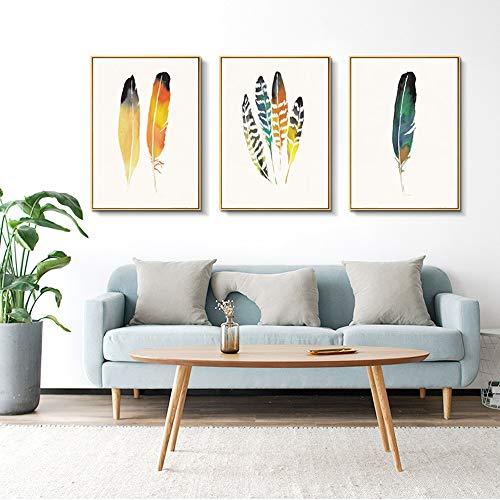 WHSS Murales de pared nórdicos de plumas de pollo tríptico pintura decorativa marco de oro caliente mural 30 * 40 cm HD Micro-spray simple moderno hogar sala de estar sofá hotel