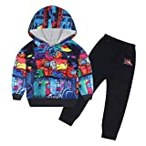 DSL Among Us Tracksuit Set for Boys Hooded Sweatshirt Sets 2 Piece Outfit Casual Hoodie for Youth Party Black