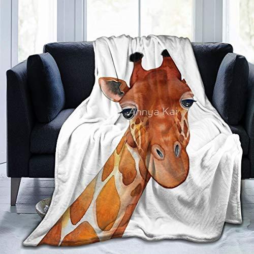 Manta de forro polar Hustor de jirafa, ultrasuave, para invierno, cálida, para verano, aire acondicionado, manta de franela, cama, sofá, oficina, camping, 152 x 127 cm