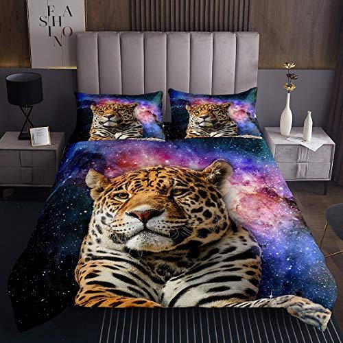 Tiger Steppdecke Galaxie Tiger Tagesdecke 220x240cm für Kinder Schick Milchstraße Wildtier Thema Design Bettüberwurf Safari Katzendruck Steppdecke 3St